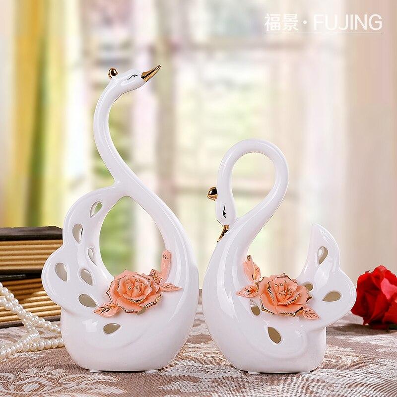 Ceramic Creative Crafts Home Decor Swan Figurines