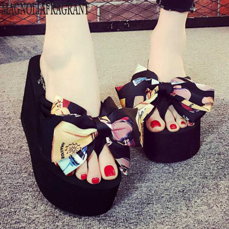 43ef0dcf32445e Summer Shoes Woman Doodle bow Sexy Flip Flops Women Sandals Bohemian Muffin  Slope With Sandals Women s