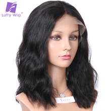 "150%density Natural Wave 13*6 Lace Front Wigs Short Bob Brazilian Human Hair Natural Color Luffy Non-remy 10-14""for Black Women"