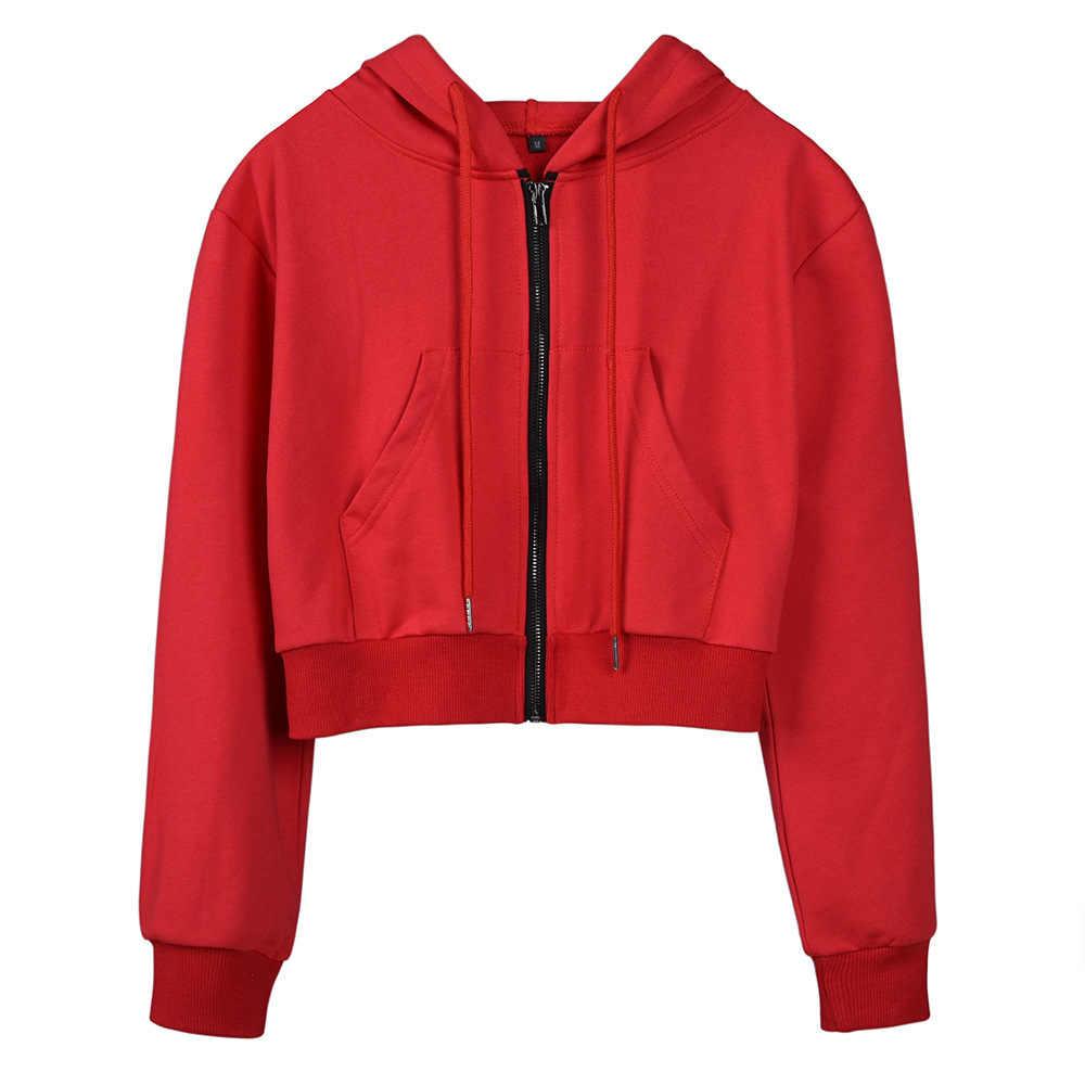 ... Autumn Winter female crop Sweatshirt Plain Polerones 2019 Jersey women  Zip Cropped Hoodie sweat shirt H0043 ... 63f77ed7ea20