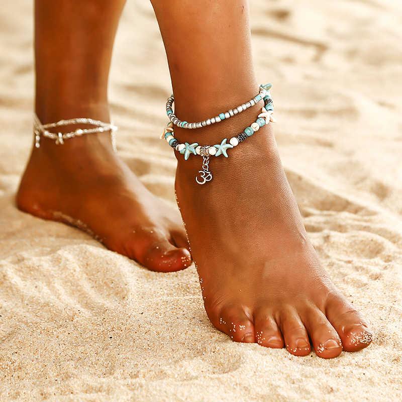 جديد الأزياء متعددة الطبقات نجم البحر السلاحف الخرز الخلخال للنساء خمر بوهو قذيفة سلسلة سوار كاحل (خلخال) الشاطئ المجوهرات
