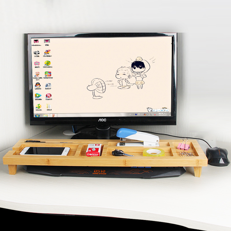 Multi-function Storage Holders Computer Keyboard Arrangement Desktop Bamboo Holder Creat ...