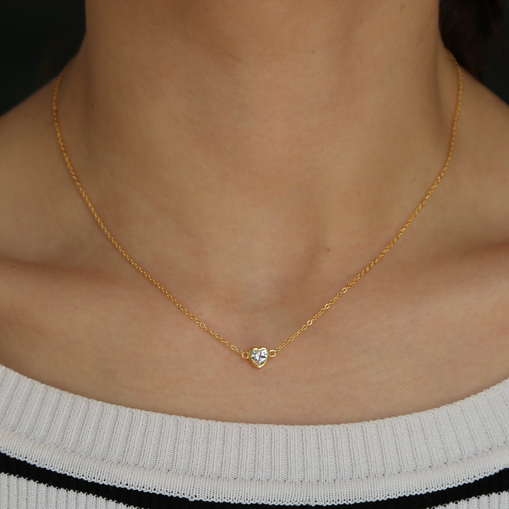 Gold Color Vermeil Lover Gift Delicate Chain Minimal Heart Cz