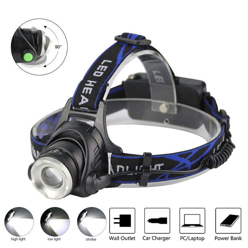 BORUIT 3400LM XM-L T6 LED Headlight White Light 3 Mode Zoomable Headlamp Waterproof 18650 Battery Head Torch For Fishing Hunting singfire sf 520 900lm 3 mode white light headlamp black 2 x 18650