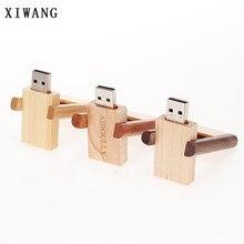 XIWANG laser engraving company logo rotating usb wood USB flash drive 4GB 8GB 16GB 32GB 64GB USB flash memory card wedding gift
