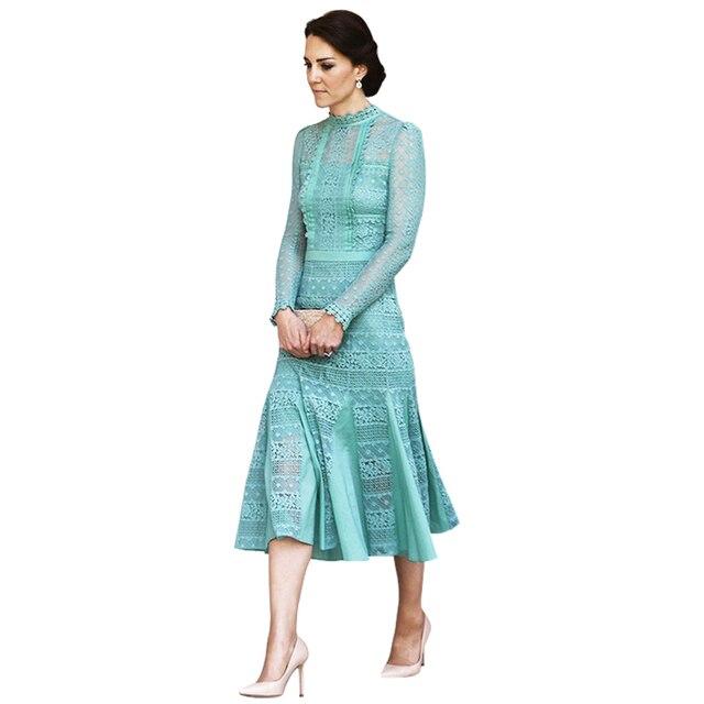 5c6979b2ba3c women clothing kate middleton dress white   blue crochet lace pleated  ruffle mermaid midi dress women dress summer 2017