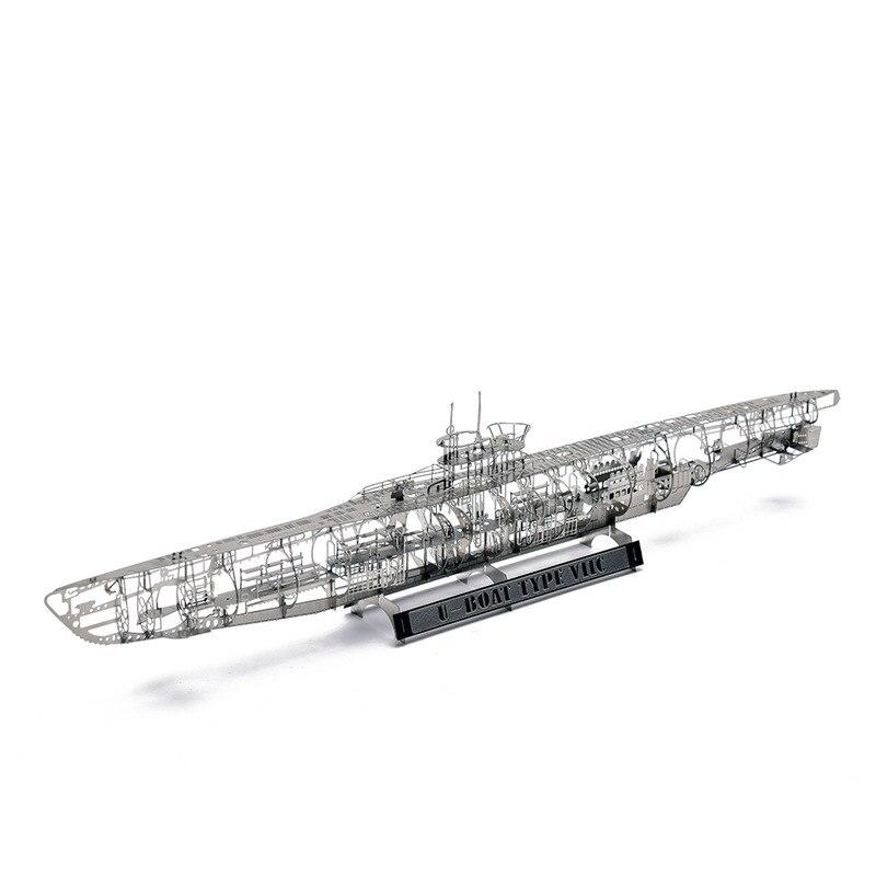Jasmin 3D métal Nano Puzzle U bateau sous-marin Type VIIC assembler des Kits de modèle bricolage 3D Laser coupe Puzzle jouet