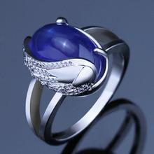 Huitan Falling Angel Half Wing Design Finger Ring Elegant Blue Stone Tears Of Angel Symbol Charms Hyperbole Party Ring цена и фото