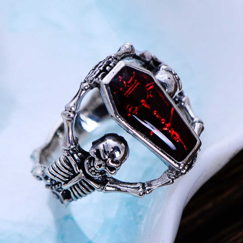 2018 Red Vintage Epoxy Coffin Ring Taro Ring Wedding Rings Punk Style  For Women Bridal Fine Jewelry Engagement Accessories