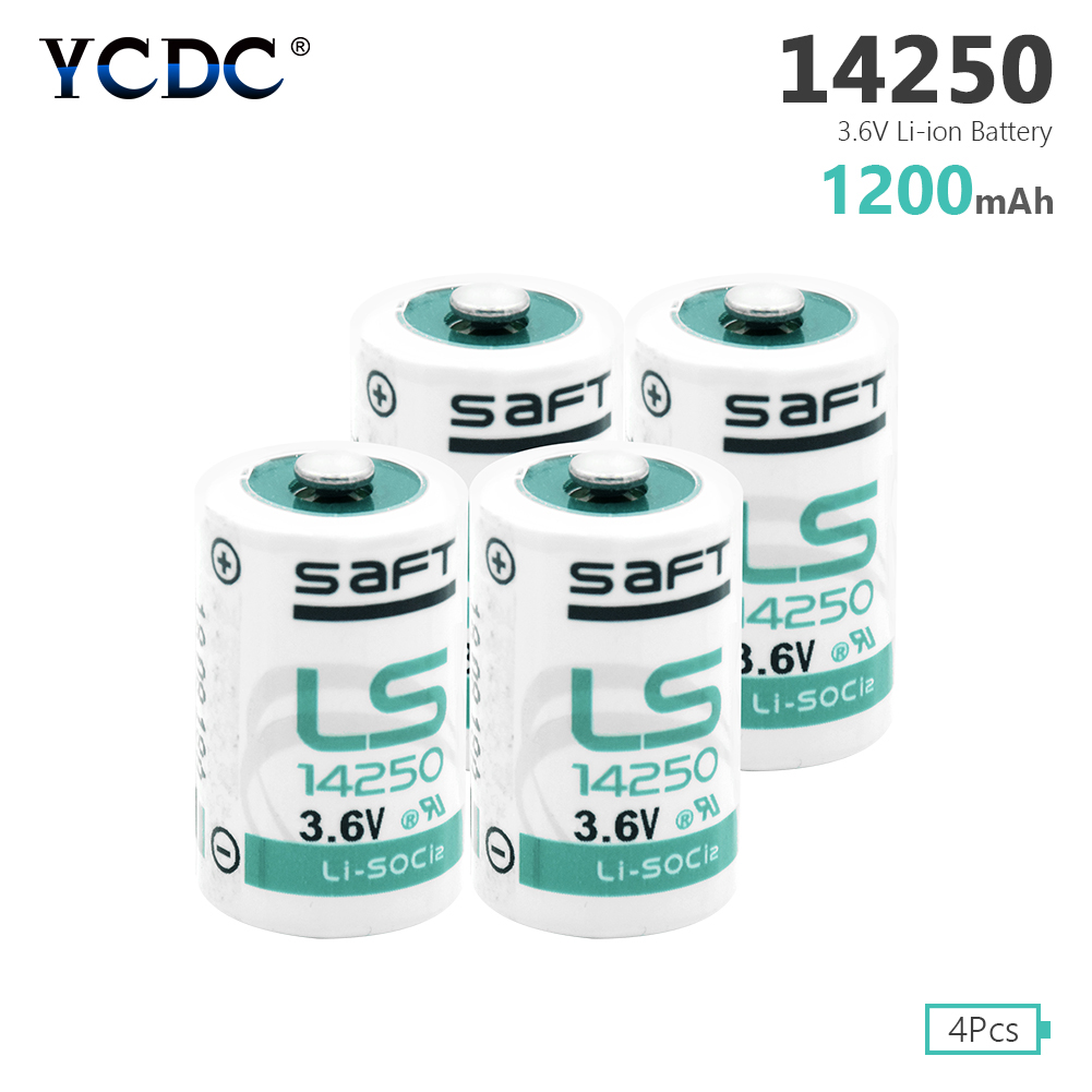 YCDC 4pcs 1200mAh <font><b>1/2AA</b></font> Size Lithium <font><b>Batteries</b></font> 3.6V 14250 ER14250 R6 For Mac Computers image