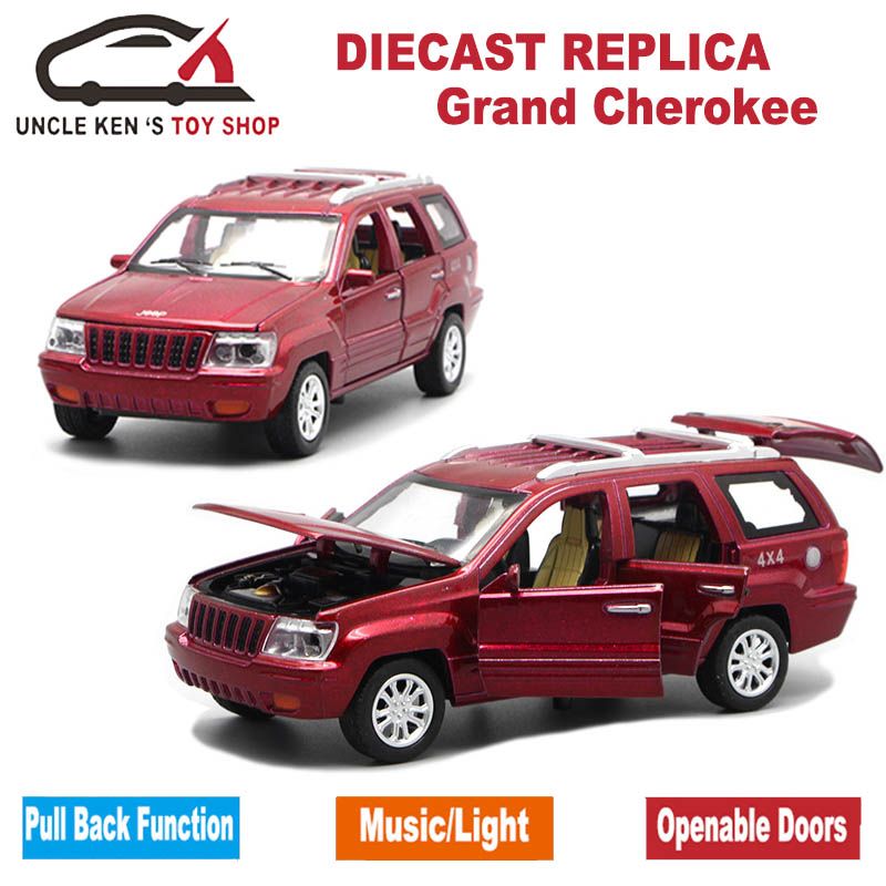 1/32 Diecast Jeep Grand Cherokee Scale Replica Model, Boys Toys Car With 6 Openable Doors/Pull Back Function/Music/Light As Gift maisto diecast car 1 18 scale jeep wrangler willys model car off road vehicle with openable doors toy for children gift page 5