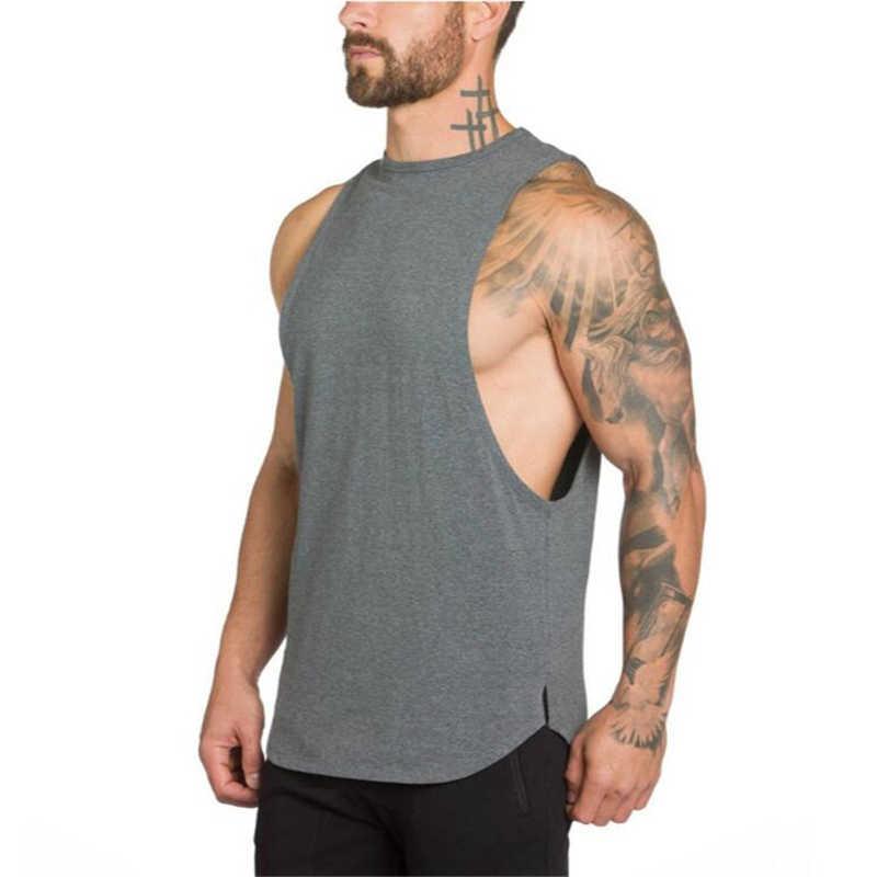 Новый мужской жилет для бега Бодибилдинг Спорт без рукавов, для тренажерного зала футболка Летняя хлопковая дышащая мужская для спортзала короткий топ для фитнеса рубашка