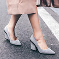 2017 New Arrival Matte Cow Leather Pumps Womens Thick High Heels Shoes Black Gray Spring Pumps Females Shoes Ladies zapato mujer