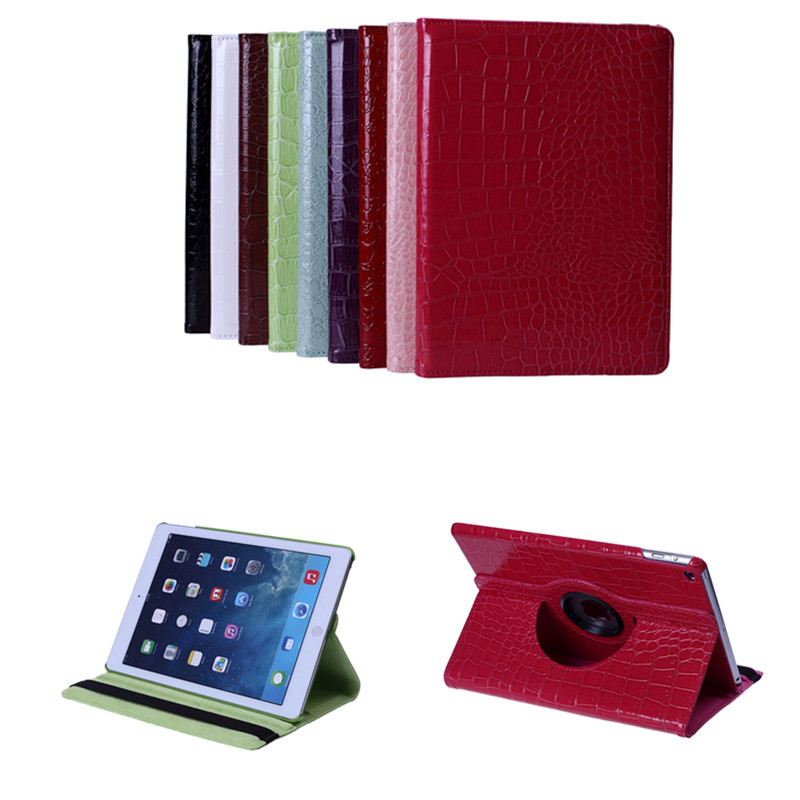 NEW For Apple Ipad air2 ipad 6 Luxury Crocodile Pattern 360 Rotation Stand Folio PU Leather Smart Cover Case For Ipad Air 2