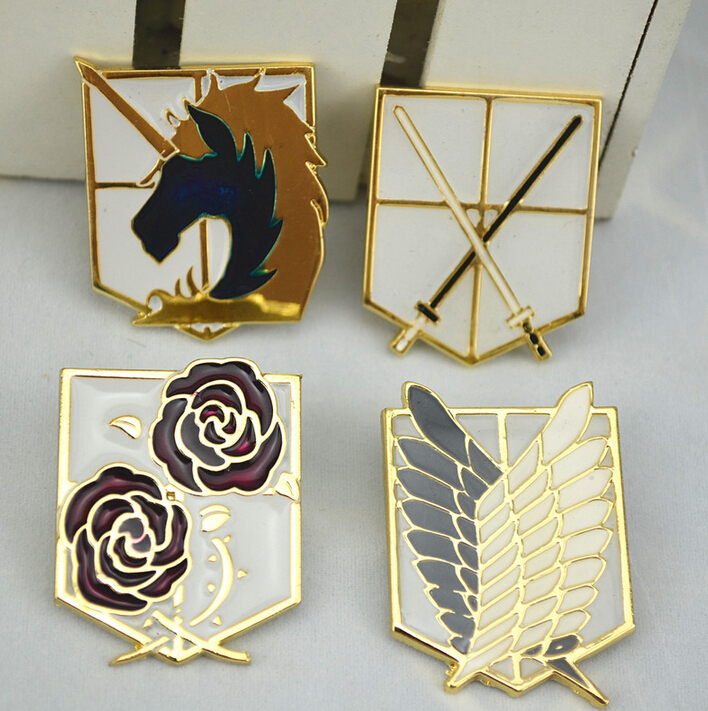 Attack on Titan badge Survey Corps Wings of Liberty COS metal emblem badge brooch cosplay badge
