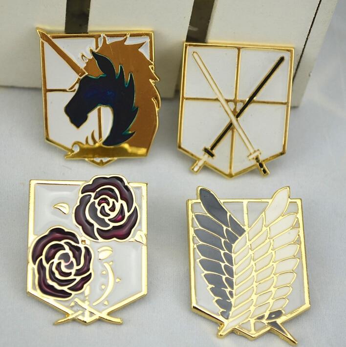 Attack On Titan Badge Survey Corps Wings Of Liberty COS Metal Emblem Badge Brooch Cosplay Badge