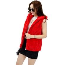 Natural Real Mink hooded vest mink fur coat long hooded ouwear