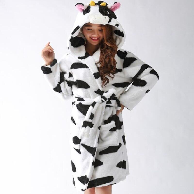 Plush Robe Adults Animal Black White Cow Pajamas Long Sleeve Lovely Sleepwear Bath Robes Night Gowns For Women Bathrobe