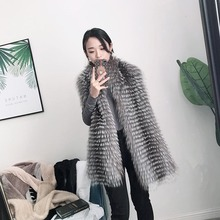 MS.MinShu Natural Fox Fur Shawl Silver Fox Fur Scarf striped