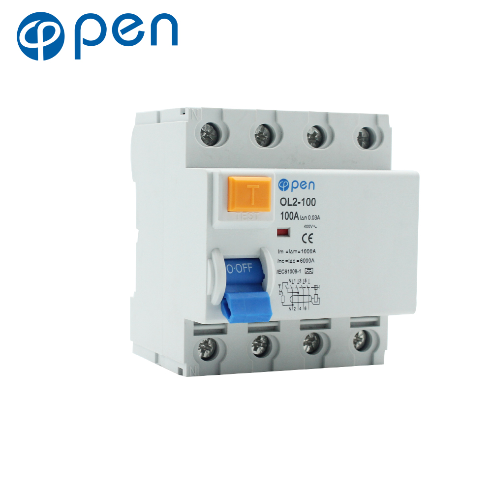 4P 100A 30mA Residual Current Circuit Breaker Electromagnetic type RCCB OL2-100 Series for Overload and Short Circuit Protection