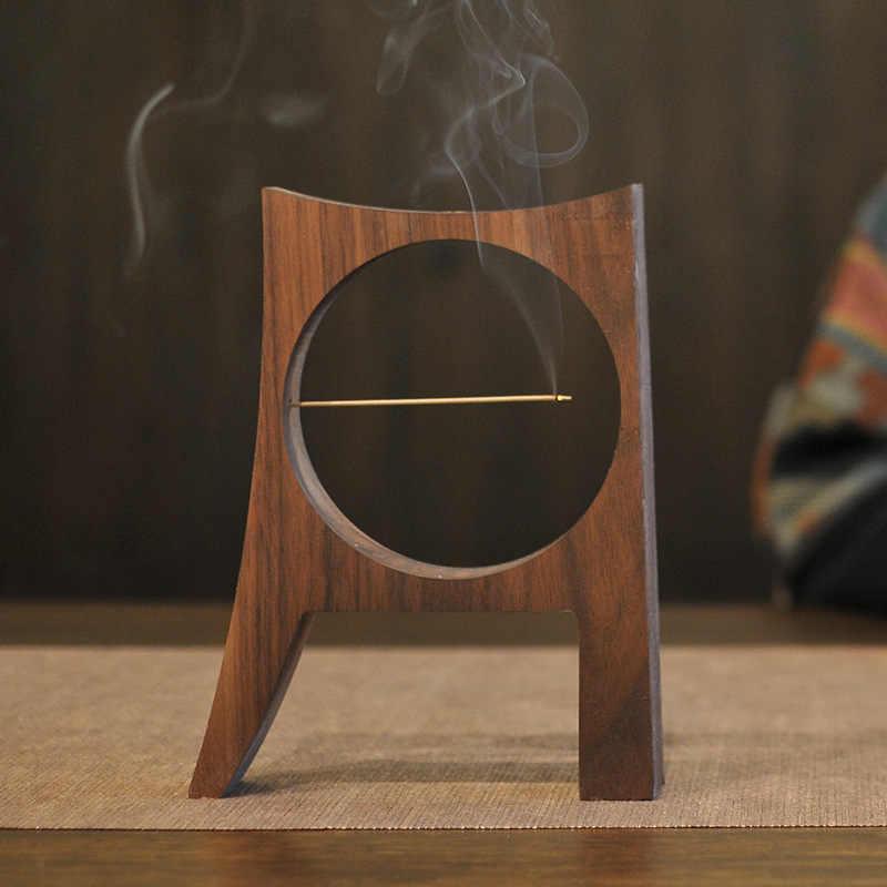 Estatuillas de madera de nogal Vintage chino Luna Base decoración Aroma cono Backflow Stick quemador de incienso adorno decoración del hogar