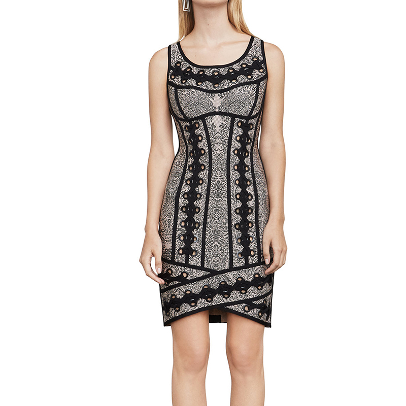 Fashion Women Wear Knitted Cocktail Party Top Quality Sleeveless Lace Up Gown Bandage Mini Short Sheath Dress Outfit for Girl shining beauty top quality women sexy short sleeve black white bandage dress 2017 knitted elastic party dress