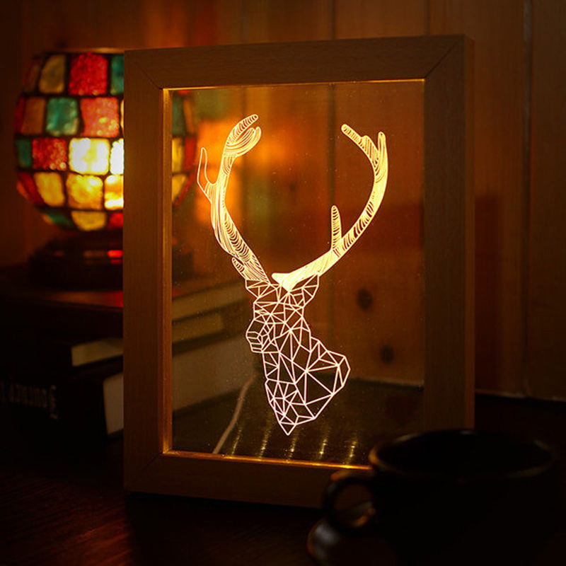 FL-701 Photo Frame Illuminative LED Night Light Wooden Deer Head Desktop Decorative USB Lamp In-Outdoor Faily Decoration Lights