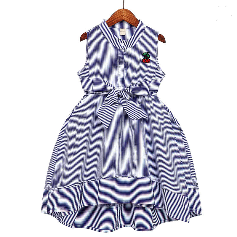 Summer Baby Girls Dresses Strawberry Embroidery Sleeveless Kids Cotton Clothing