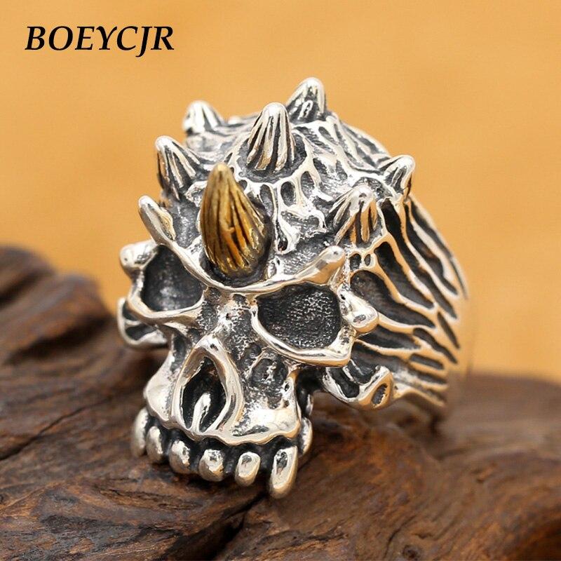 BOEYCJR S925 argent Sterling rétro Punk Rock Sull anneaux bijoux fins Vintage réglable anneaux pour hommes cadeau anillo anneau