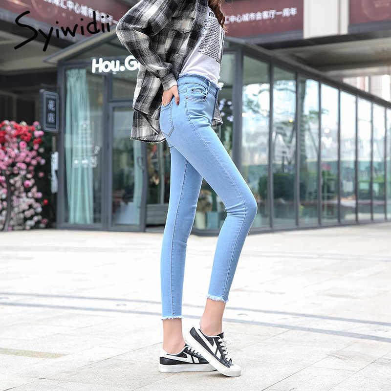 Для женщин джинсы с кисточками большие Размеры женские джинсы карандаш Высокая Талия Стрейчевые джинсы-скини Для женщин джинсовые штаны черный тонкий одноцветное джинсовое 2019