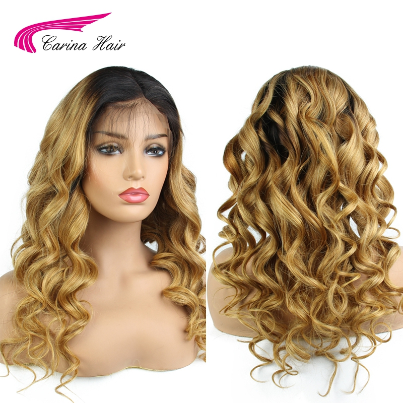 Carina Peruvian Loose Wave Full Lace Wigs with Baby Hair Remy Human Hair Ombre Color Wigs Pre-Plucked Hairline Bleached Knots
