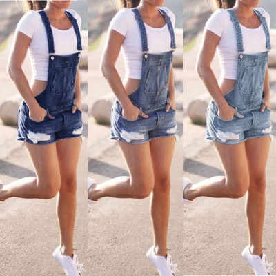 a94a03381 Women Summer Denim Bib Overalls Jeans Shorts Jumpsuits and Rompers Playsuit