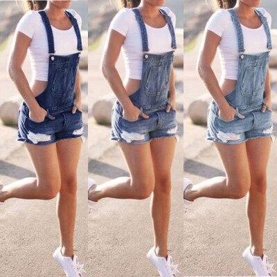 Mulheres Verão Macacão Jeans Jardineiras Shorts Jeans Macacões e Rompers Playsuit