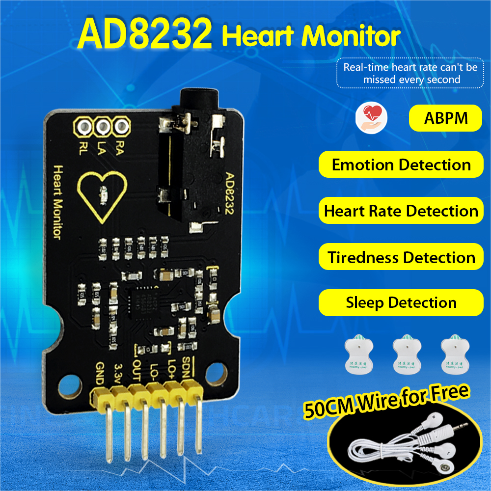 Keyestudio AD8232 <font><b>ECG</b></font> Measurement Heart Monitor <font><b>Sensor</b></font> Module for Arduino UNO R3 image