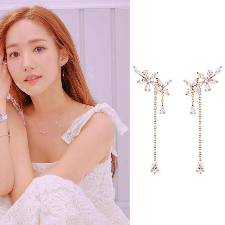 New Fashion Women Korean TV Star Cute Zircon Flower Drop Earrings Elegant Water Drop Long Line Pendientes Jewelry Girl Gifts
