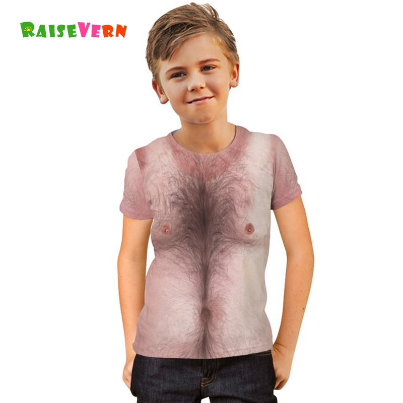 ab99c6b4b Boys Girls 3D Chest Hair Muscle Tees Summer Children's Short Sleeve T-shirts  Unisex Kids Clothes Running Shirts