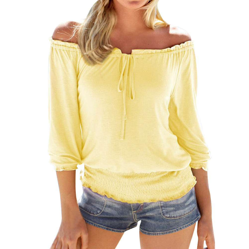 JAYCOSIN Hot Sale Women Summer Long Sleeve Colid Off Shoulder Loose Sexy Shirt Blouse Tops dropshipping csv QG18