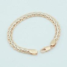 FJ 7 мм для мужчин и женщин 585 цвета розового золота плетение Браслеты панцирные цепи витые браслеты с ладонями цепи