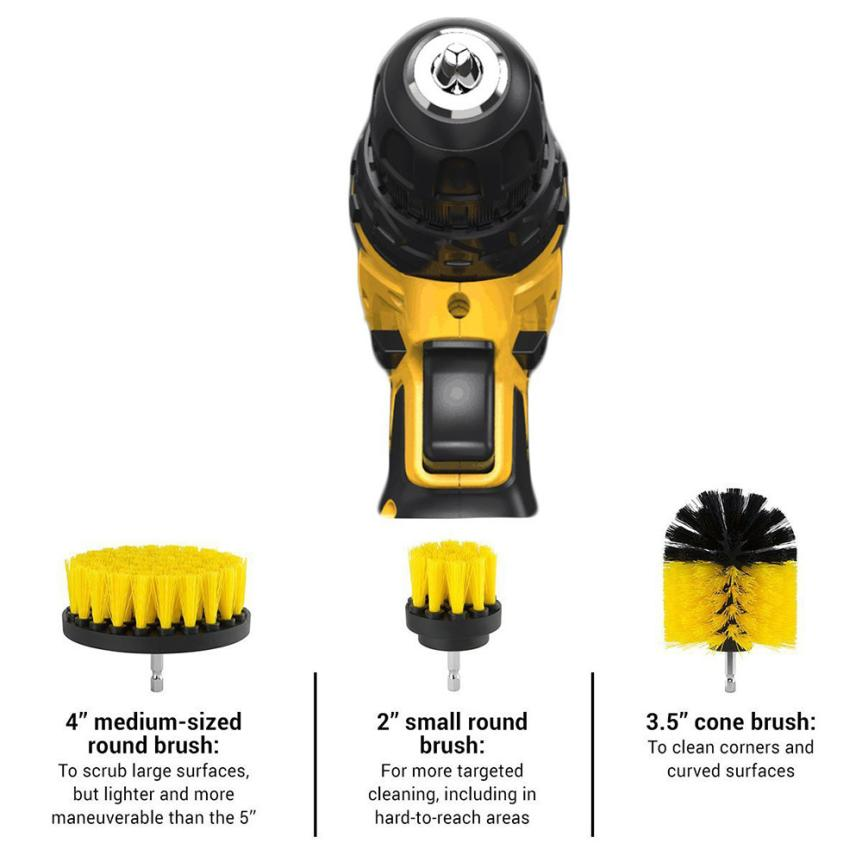 Electric Drill Brush Grout Power Scrubber Cleaning Brush Tub Cleaner Tool MAY28