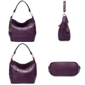 Image 4 - Zency Charm bolso de hombro Morado para mujer, 100%, Hobos de cuero auténtico, bandolera, elegante