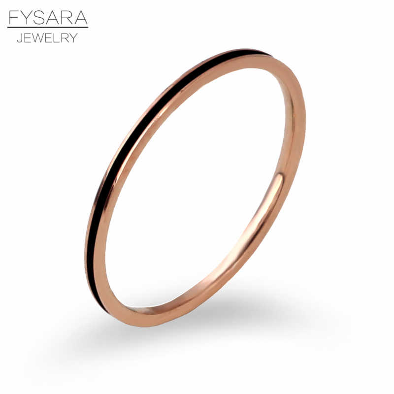 Fysara titanium aço cor de ouro rosa 1mm anel fino para mulher cauda junta dedo anel esmalte moda jóias amor anel tamanho 2-9
