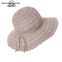 BINGYUANHAOXUAN 2018 New Bowknot Summer Womens Foldable Wide Large Brim Elegant Sun Hat Ladies Lace Hollow Straw Beach Caps