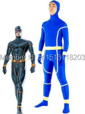 X-Men Costume Spandex Fullbody Zentai Suit Blue X-Men Cyclops Costume Superhero Halloween Cosplay Suit