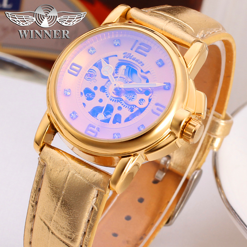 Fashion WINNER Women Brand Lady Gold Skeleton Leather Strap Watch Mechanical Hand Wind Wristwatches Gift Box Relogio Releges winner brand men luxury see through skeleton stainless steel watch mechanical hand wind wristwatches gift box relogio releges