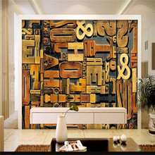 3D solid wood carving English alphabet TV background wall professional production wallpaper mural custom poster photo wall цены онлайн