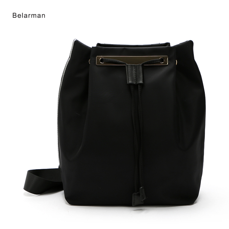 2018 Nylon Bucket Bag Women Black String Closed Summer Lady Tote Designer Waterproof Single Shoulder Bags Luxury Handbags maleta aosbos women shoulder bags multifunctional waterproof nylon handbag lady casual portable black tote bag female designer handbags