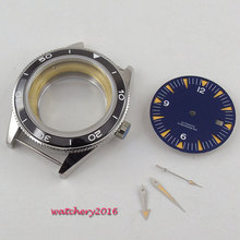 41mm parnis blue Dial + Hands + Watch Case set fit ETA 8215 2836 Movement Sapphire Glass High quality hardened Watch Case цена и фото