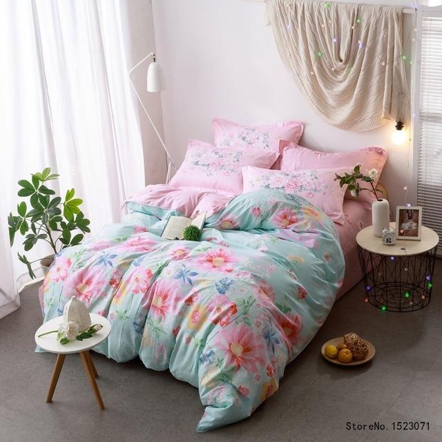 Superb Rosa Blume Hometexile Baumwolle Stoff Land Stil Bettlaken Bettwäsche Queen Size  Bettbezug Bettdecke Schlafzimmer Dekoration