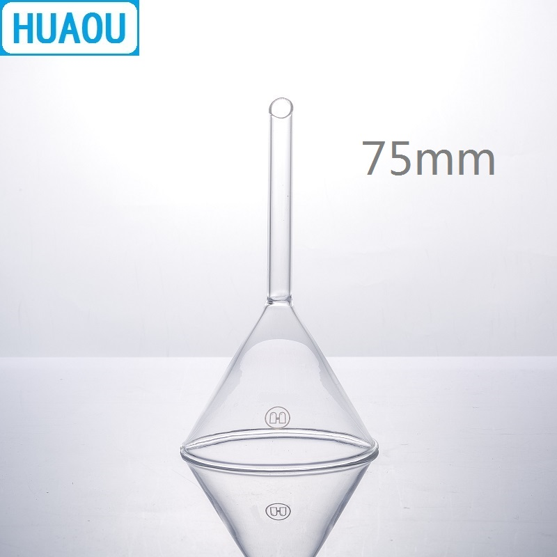 HUAOU 75mm Funnel Short Stem 60 Degree Angle Borosilicate 3.3 Glass Laboratory Chemistry Equipment
