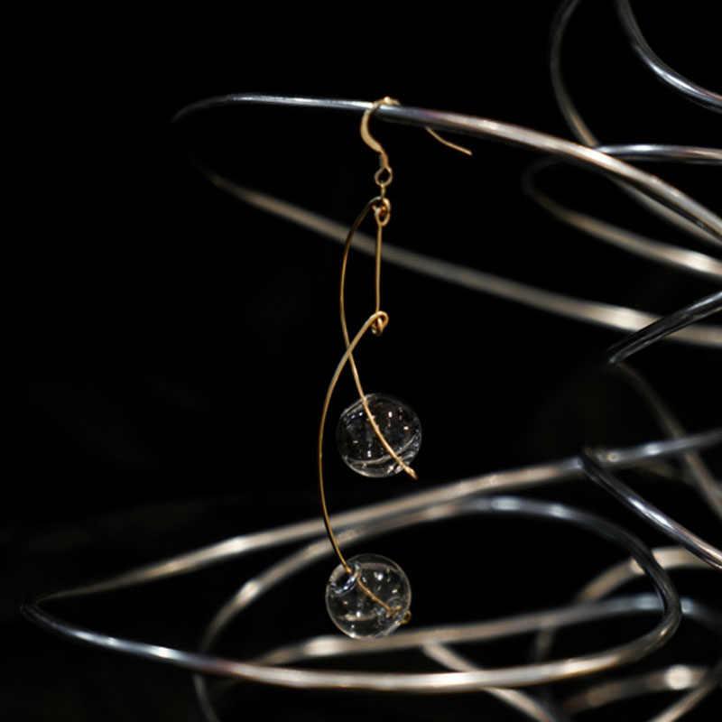 Original Clear Glass Ball Dangle ต่างหูสำหรับผู้หญิง Handmade สบู่ยาวเกาหลี Drop ต่างหูเครื่องประดับต่างหู 2019 bijoux